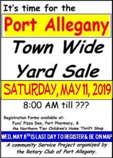 5-11 Town-Wide Yard Sale, Port Allegany