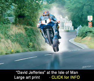 Isle of Man David Jefferies art print, reproduction for sale, beacham owen, beach
