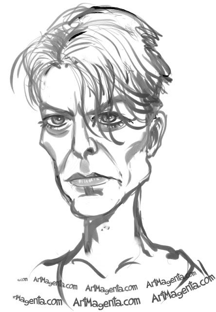 David Bowie caricature cartoon. Portrait drawing by caricaturist Artmagenta