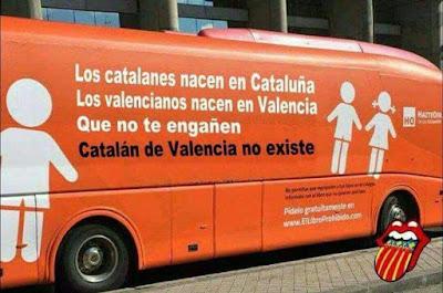 Los catalanes nacen en Cataluña, los valencianos en Comunidad Valenciana, que no te engañen, catalán de Valencia no existe, autobús