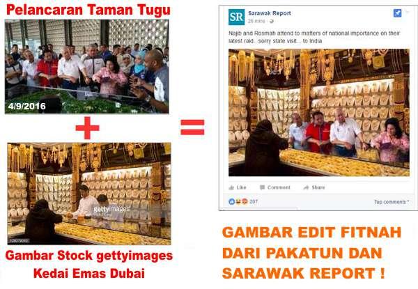Gambar Edit Untuk Memfitnah Lawatan Najib Ke India Oleh Pakatun Dan Sarawak Report