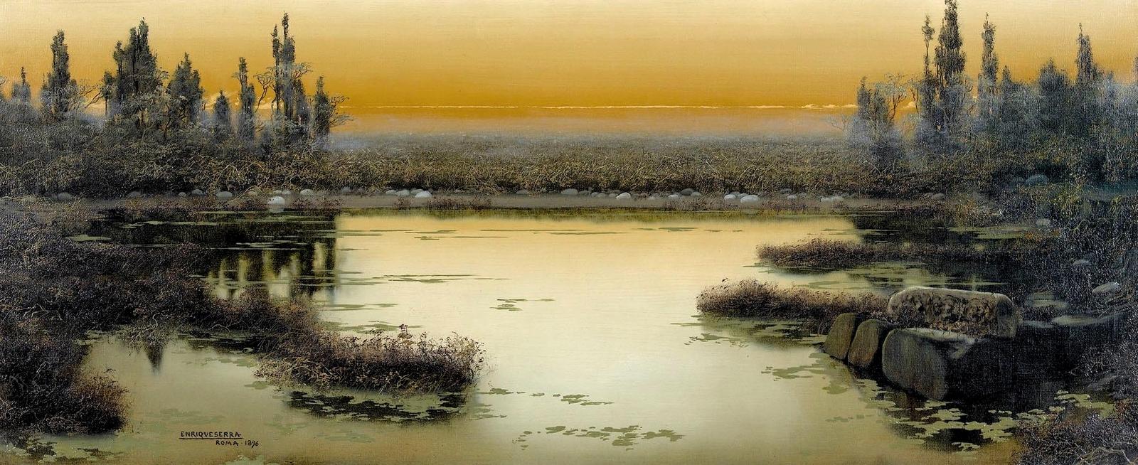 Enrique  Serra  y  Auque  Pontine  Marshes  in  the  twilight C