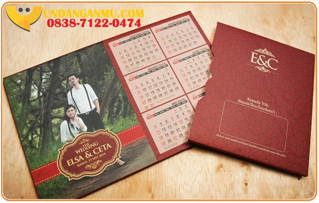gambar undangan pernikahan kalender, desain undangan pernikahan kalender