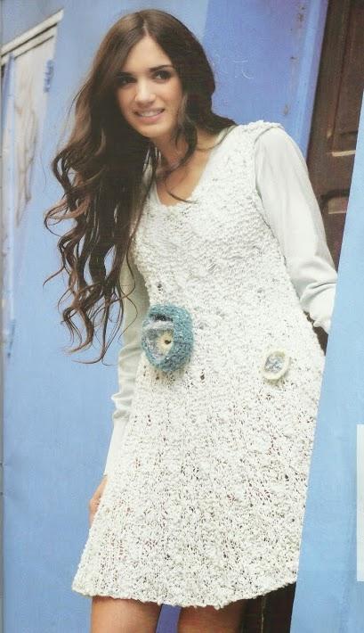 Vestido con Flores a Dos Agujas o Knitting