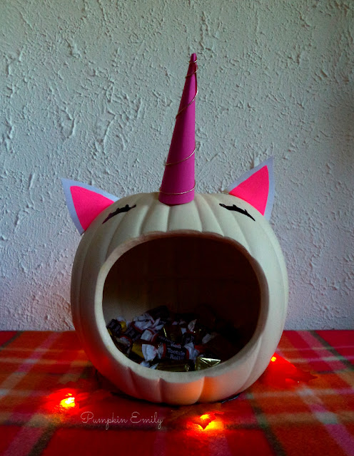 DIY Unicorn Pumpkin Candy Bowl