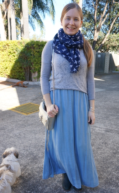 chambray maxi skirt in winter embellished grey knit bird print scarf | awayfromblue