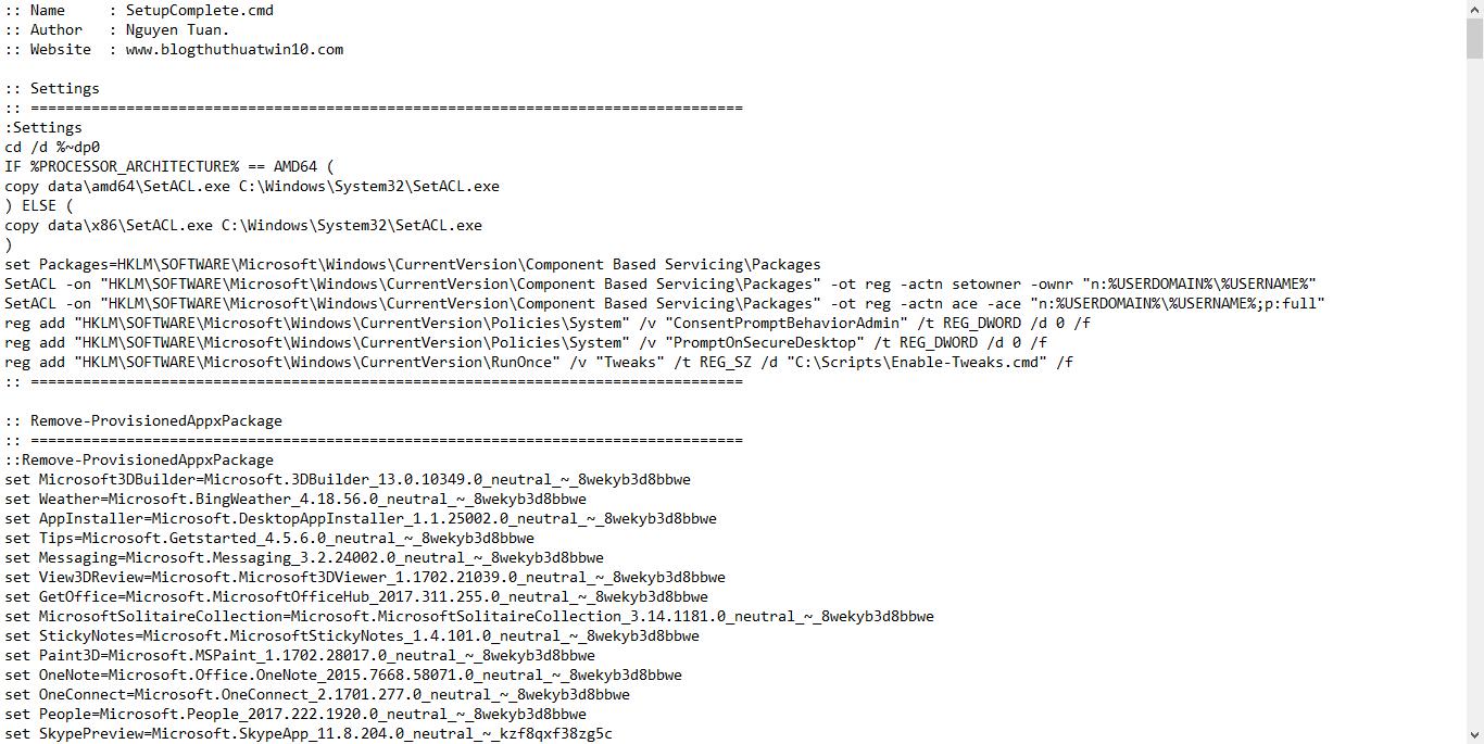 Share batch code SetupComlete.cmd sử dụng cài đặt Windows 10 Pro, Version 1703
