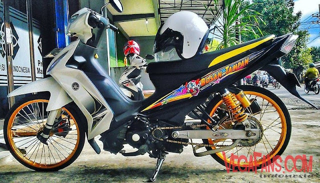 Modifikasi Vega RR Putih Modif Simple Velg Orange