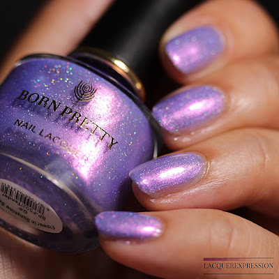 Nail polish swatch and review of holographic, shimmery, chameleon polish Tender by Born Pretty Store