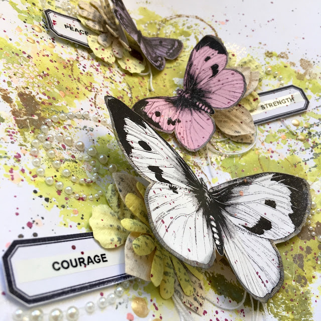 The Butterfly Fly Mixed Media Card by Angela Tombari using BoBunny On This Day Collection