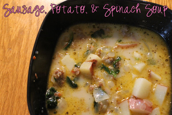 Sausage, Potato, and Spinach Soup |  Spicy sausage, red potatoes, and baby spinach make for a wonderful soup for cold winter nights or rainy summer ones. #recipe #soup #sausage #potato