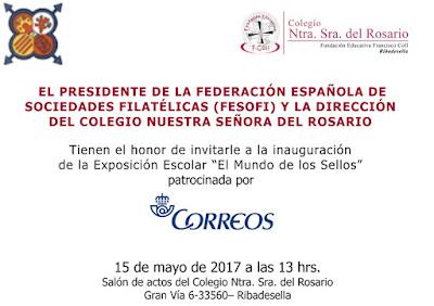 """Invitación a la Exposición """"El Mundo de los Sellos"""", la didáctica itinerante, en el Colegio Nuestra Señora del Rosario, Ribadesella"""