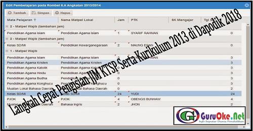Langkah Cepat Pengisian JJM KTSP Serta Kurikulum 2013 di Dapodik 2018