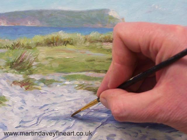 artist Martin Davey hengistbury head dorset WIP