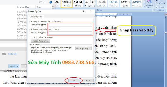 Đặt mật khẩu file Excel, Word - H04