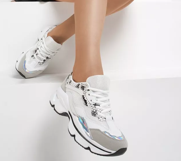 Adidasi albi de femei ieftini cu talpa groasa moderni