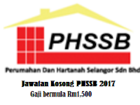 Jawatan Kosong Selangor PHSSB Tarikh tutup 05 April 2017