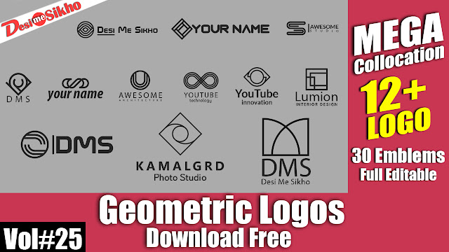 Geometric Logos Full Editable PSD File Download Free Vol#25