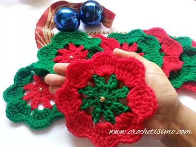 Flor Navideña en crochet, paso a paso