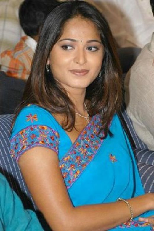 Anushka Shetty Hot Looking Photos In Blue Saree