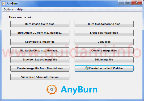 Interfaccia AnyBurn programma per masterizzare
