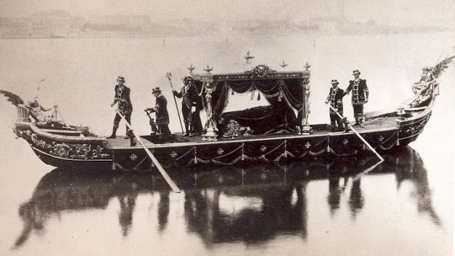 A traditional funeral gondola, Venice