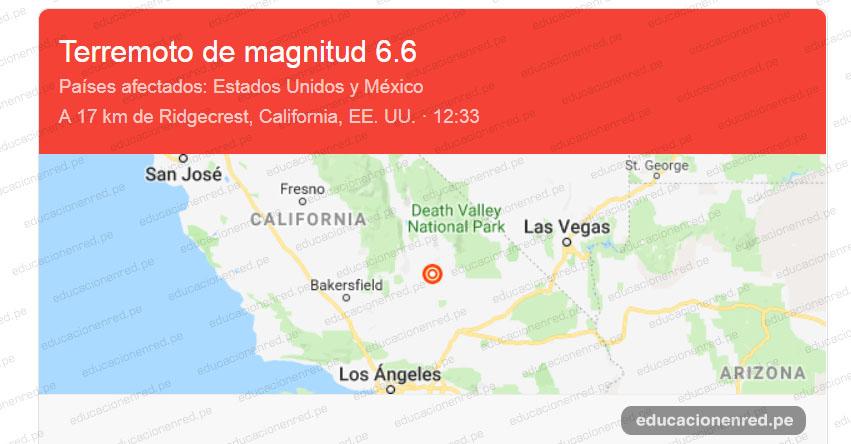 TERREMOTO EN ESTADOS UNIDOS: Sismo de Magnitud 6.6 y Alerta de Tsunami (Hoy Jueves 4 Julio 2019) Temblor EPICENTRO - Los Ángeles - California - Searles Valley - USGS