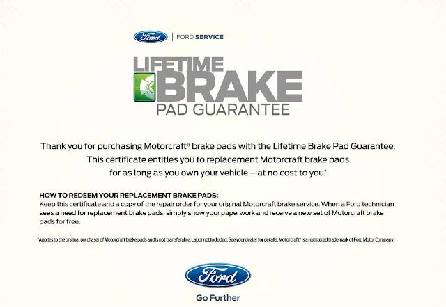 Lifetime Brake Pad Guarantee Certificate