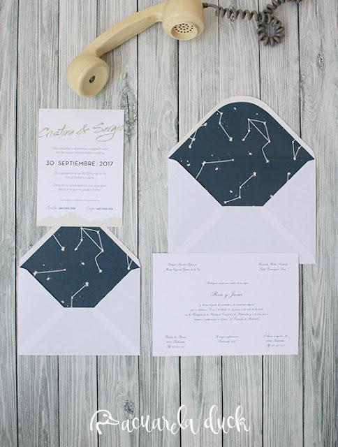 Invitación boda constelaciones