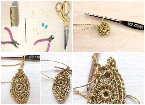 pendientes, crochet, ganchillo, pendientes hoja, crocheteria