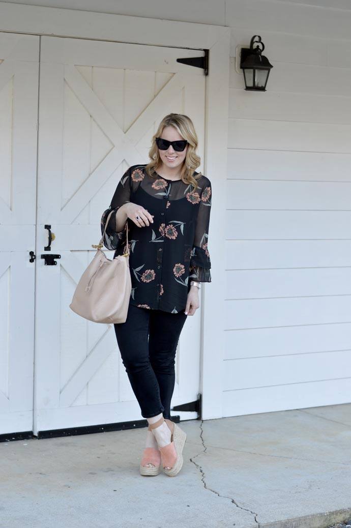 cute spring outfit floral blouse