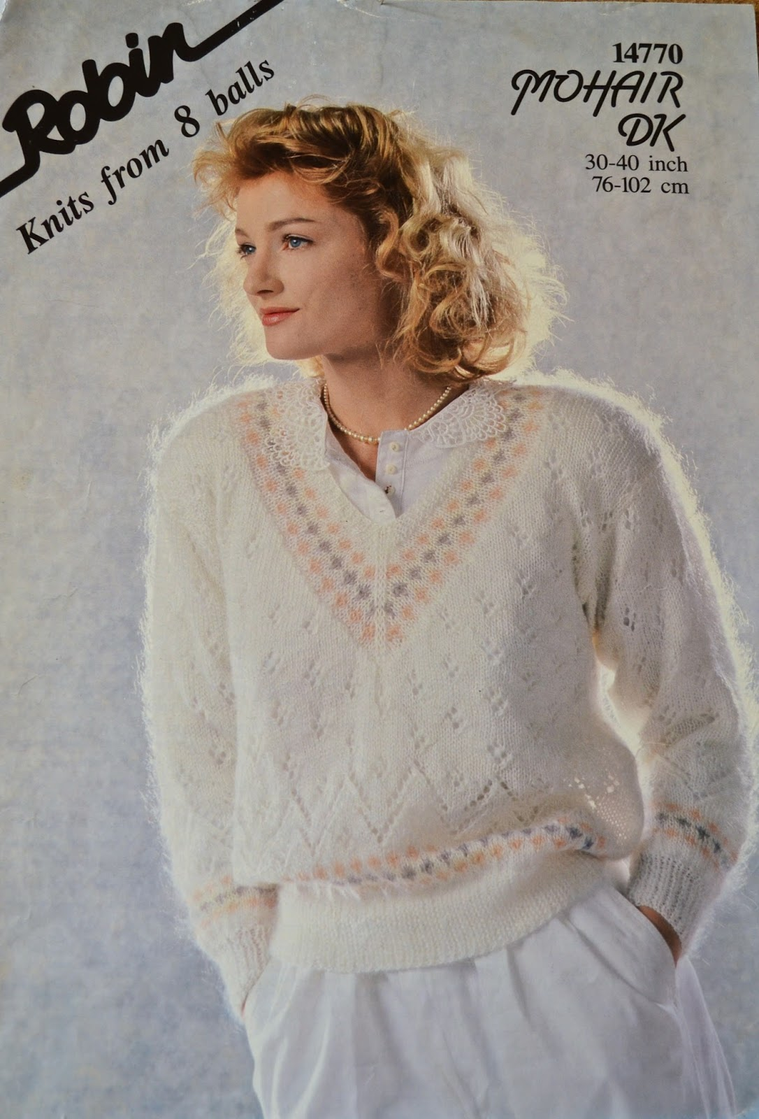 92dae5e901d5 Vintage 1980s Knitting Pattern - Robin Ladies  Mohair Sweater Knitting  Pattern