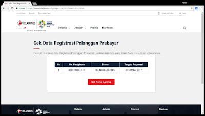 Data registrasi pelanggan SIM Prabayar.