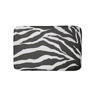 Zebra print bath mat