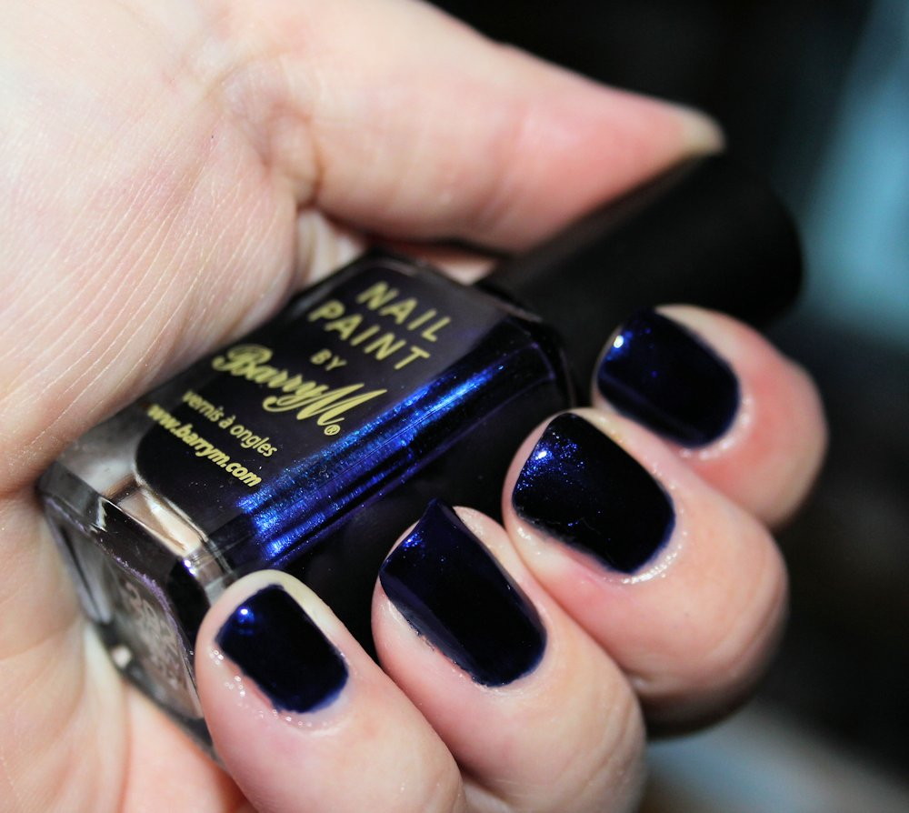 Barry M 292 navy nail polish swatches.
