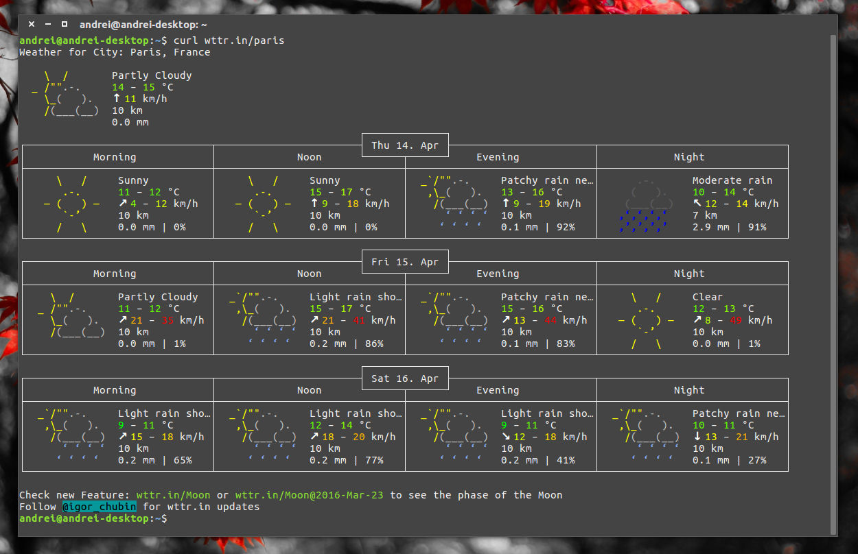 Get Weather Information From A Terminal Using Nothing But cURL ~ Web