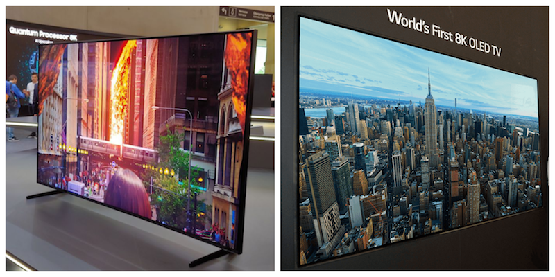 Samsung QLED 8K TV (left) and LG OLED 8K TV (right)