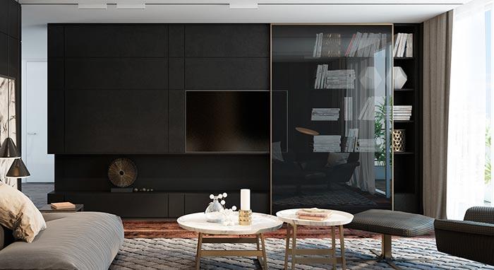 siyah tv ünitesi ve oturma odası fikri