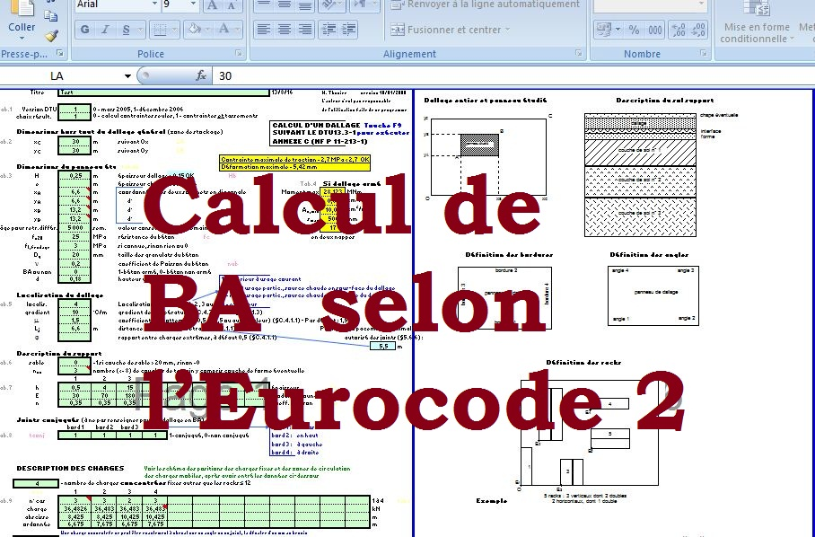 calcul de b ton arm sur excel selon l eurocode 2 cours. Black Bedroom Furniture Sets. Home Design Ideas