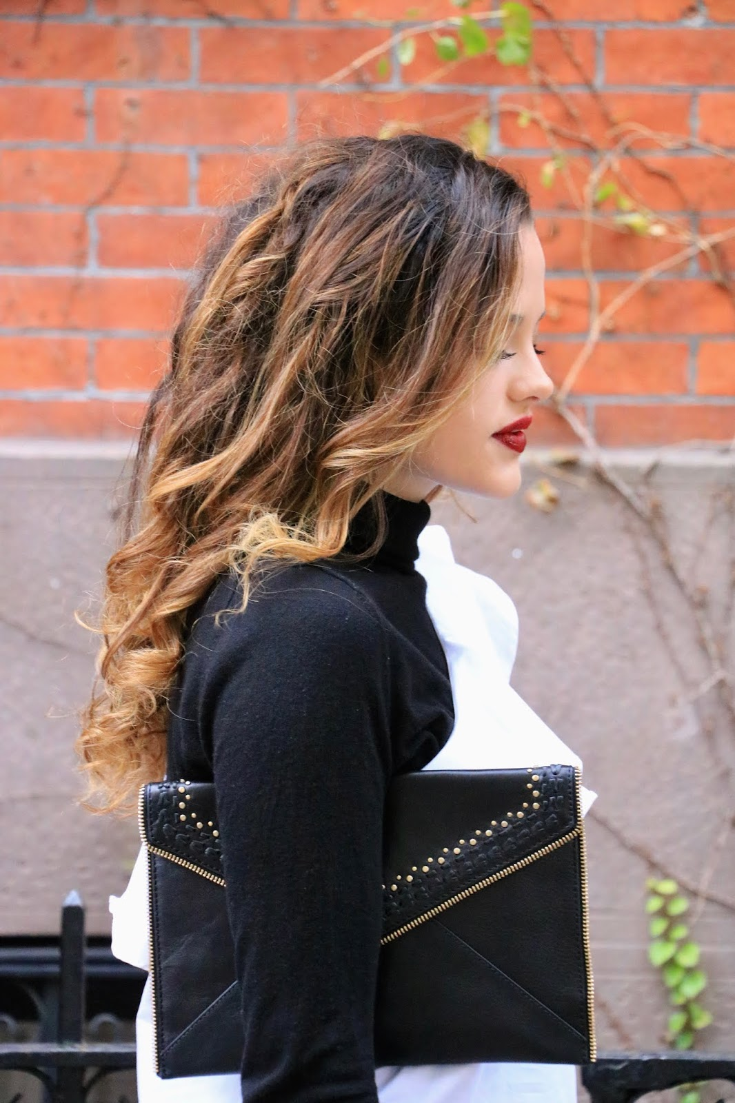 Nyc fashion blogger Kathleen Harper's holiday clutch by Rebecca Minkoff
