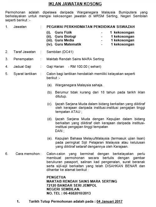 Jawatan Kosong Maktab Rendah Sains Mara (MRSM) – Januari 2017