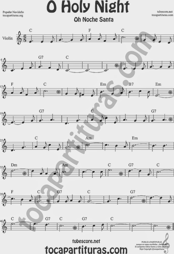 O Holy Night Partitura de Violín Sheet Music for Violin Music Scores Music Scores Oh Noche Santa