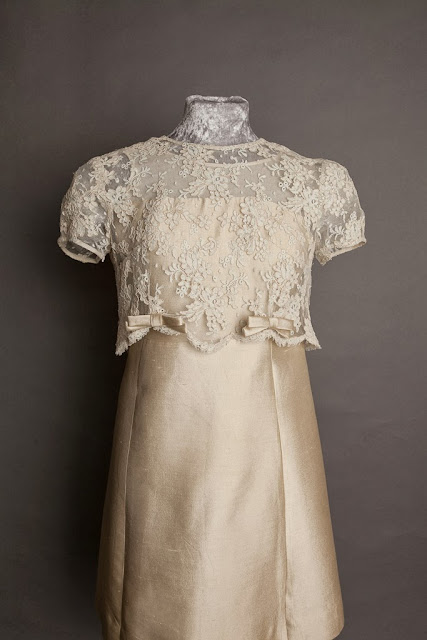 A-Line 1960s wedding dress, short length with lace overlay, Pierre Cardin style. c HVB vintage wedding blog 2013