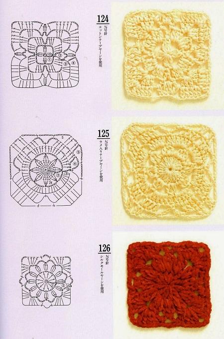 Motivos Quadrados (Squares) de Crochê Com Gráficos 17