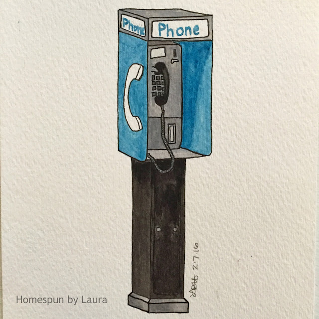 homespun by laura daily doodle us phone booth vintage telephone watercolor