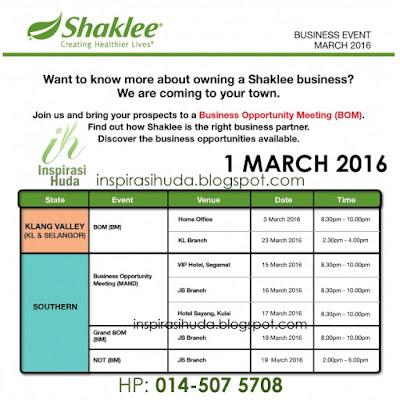 shaklee, program, perniagaan, mac 2016