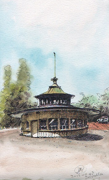 A watercolour of Solvalla Betting Kiosk by David Meldrum