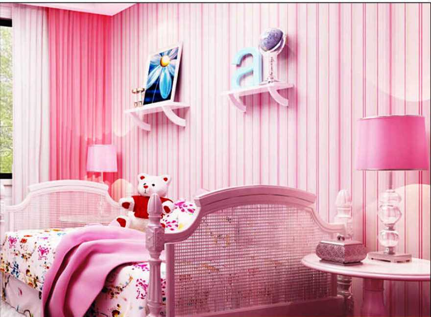 Motif Wallpaper Dinding Kamar Anak Perempuan Warna Pink Garis Lurus