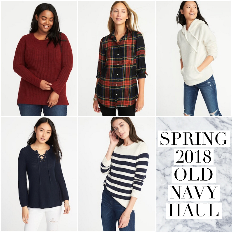 bblogger, bloggerca, beauty blog, plus size blogger, old navy, style, spring, 2018, haul, sweater, weather, plaid, relaxed, classic, rib-knit, sherpa, striped, haul, spring fashion, bargain shopper