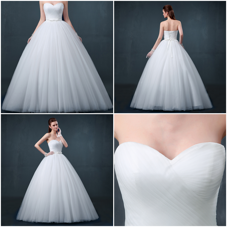 Delicate Sweetheart Ruched Lace-Up Ball Gown Wedding Dress